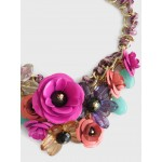 Rose Bouquet 3D Floral Stone Statement Necklace